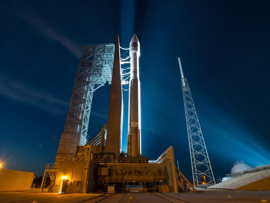United Launch Alliance's Atlas V rocket sits on the