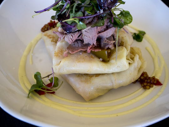 The Duck Cuban at the Crepe Bar in Tempe is filled with Hassayampa ham, smoked serrano soubise and mustard seed chutney.