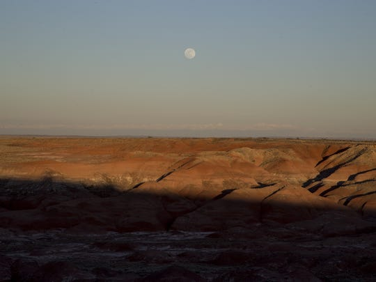 Painted Desert moonrise, February 21, 2016, Petrified Forest, Arizona.