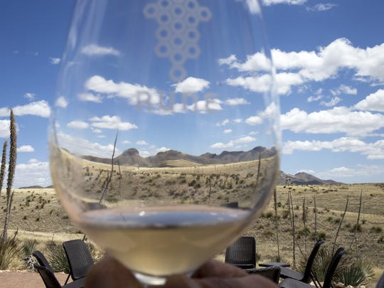 Biscuit Butte (left), April 29, from the outdoor tasting room at Rune Wines, 3969 Highway 82, Sonoita, Arizona.