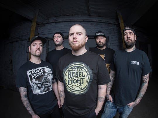 L-R:  Wayne Lozinak, Matt Byrne, Jamey Jasta,  Frank Novinec, Chris Beattie of Hatebreed visit Higher Ground tonight.