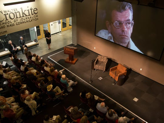 A video is played during an Arizona Storytellers Project show commemorating the 40th anniversary of the assassination Arizona Republic reporter Don Bolles, June 3, 2016, in the First Amendment Forum at the Walter Cronkite School of Journalism and Mass Communication at Arizona State University, 555 N. Central Avenue, Phoenix.