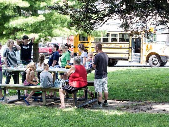 The Bridgepoint Elementary Read and Feed Bus made a stop at King Solomon Apartments in Jeffersonville on Wednesday to provide free lunches and books to students on summer break. 6/29/16