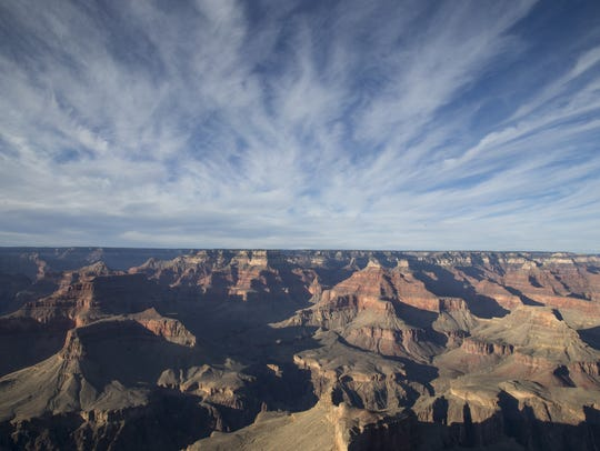 Clouds wisp over the Grand Canyon's Hopi Point on Feb.