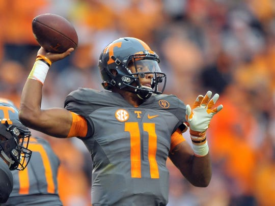 Tennessee quarterback Joshua Dobbs threw for 2,291