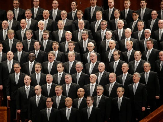 In this April 2, 2016, file photo, The Mormon Tabernacle Choir performs during the opening session of the two-day LDS church conference in Salt Lake City. Latter-day Saints gather for a twice-yearly conference to hear spiritual guidance from top leaders during a testy presidential election and as society grapples with issues of race and sexuality.