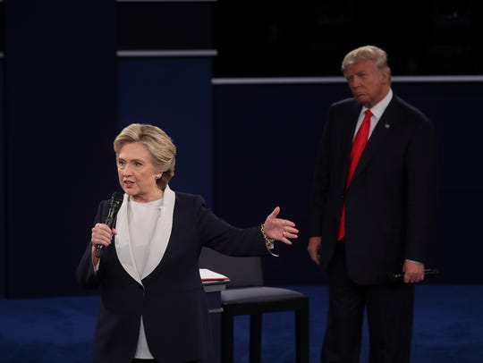 Hillary Clinton and Donald Trump at the second presidential