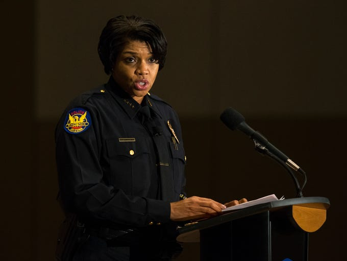 Phoenix Police Chief Jeri Williams speaks during her