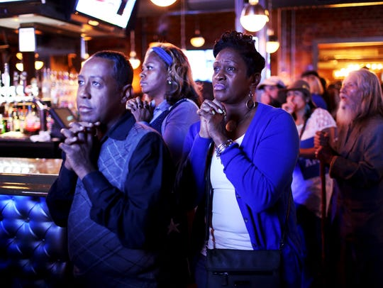 Hillary Clinton supporters watch election returns at