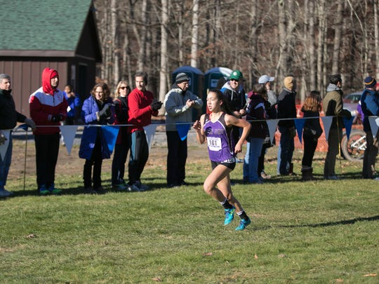 John Jay's Pippa Nuttall during the state cross-country championships at Chenango Valley State Park in Chenango Forks on Saturday, Nov. 12th, 2016.