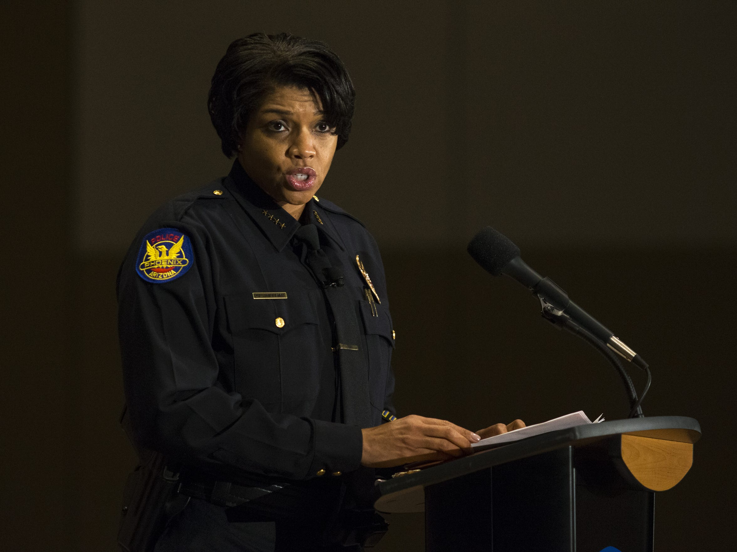 Phoenix Police Chief Jeri Williams speaks after being