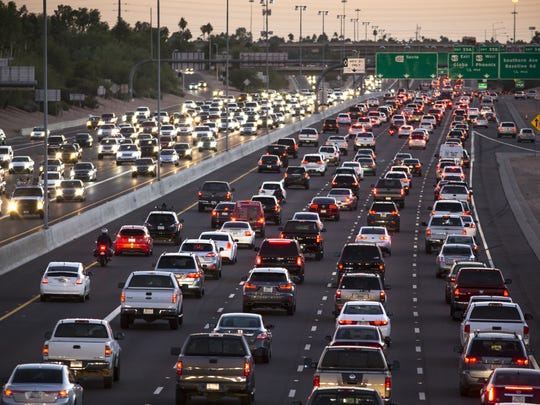 Southbound rush hour traffic on the Loop 101, November