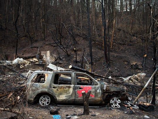 Dec 5, 2016; Gatlinburg, TN, USA; The remains of the