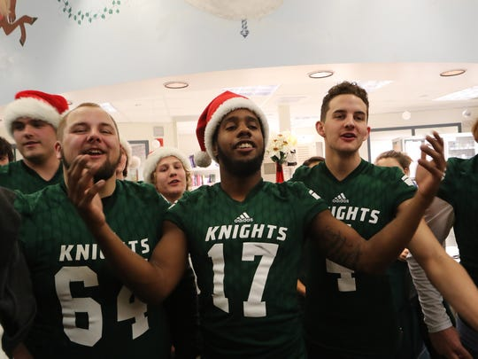 Students involved in Shasta College athletics gave out toys Wednesday to children at Mercy Medical Center in Redding.