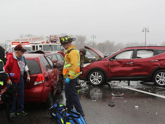 A multicar wreck slowed traffic on a wet Thursday on