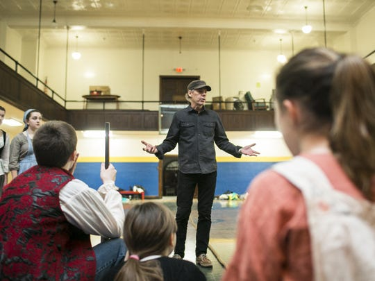 "Very Merry Theatre Executive Director Donald Wright talks to cast members before a rehearsal of ""Les Miserables"" at St. Joseph's School on Wednesday, Jan.  4."