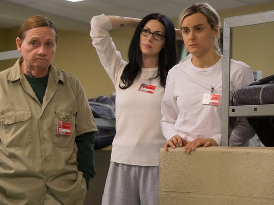 "Dale Soules, Laura Prepon and Taylor Schilling in ""Orange is the New Black."""