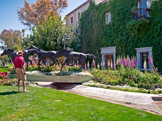 Horse statues decorate the grounds of Civic Center mall in Scottsdale.