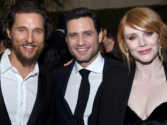 """""""Gold"""" stars Matthew McConaughey (from left),  Edgar Ramirez and Bryce Dallas Howard attend the film's premiere on Jan. 17, 2017, in New York City."""