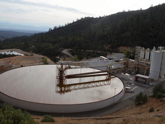 A sludge treatment plant at Iron Mountain Mine, seen in 2015.