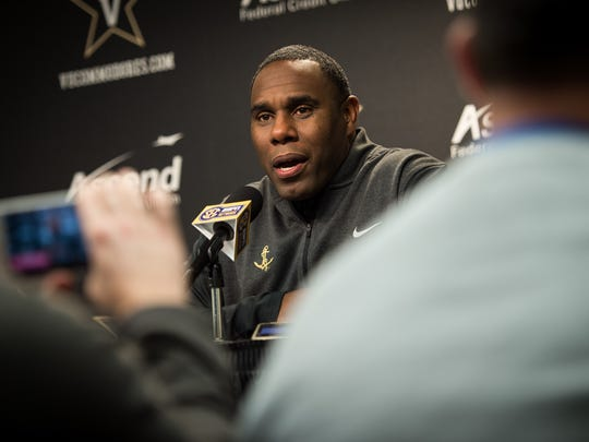 Vanderbilt football coach Derek Mason speaks during a football National Signing Day press conference at Vanderbilt University in Nashville, Tenn., Wednesday, Feb. 1, 2017.