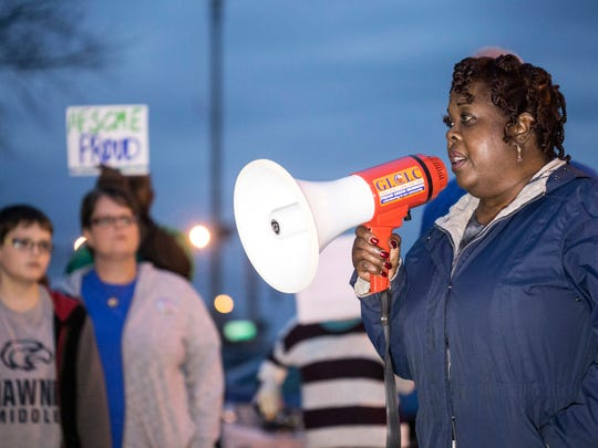 Barbara Boyd spoke during a rally outside of the Van