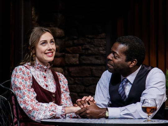 "Joey Drayton (Chelsea Morgan) and Dr. John Prentice (Chiké Johnson) talk in ""Guess Who's Coming to Dinner?"" at Geva Theatre Center. Indiana Repertory Theatre co-produces it."
