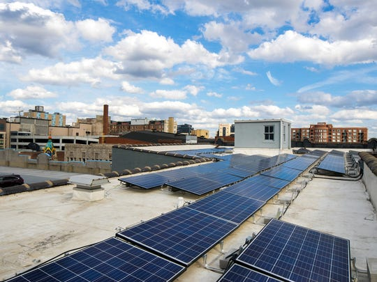 Solar panels were installed in February at the Bisig Impact Center,  640 S. 4th St.