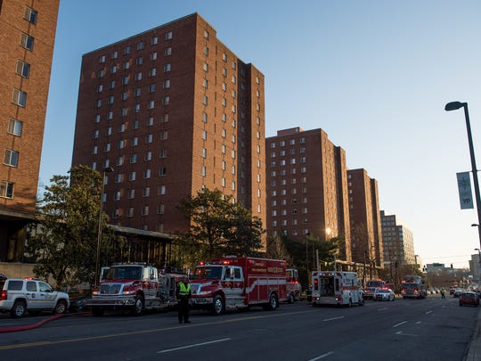 Firefighters respond to a fire at Vanderbilt University's Carmichael Towers in Nashville, Tenn., Friday, March 3, 2017.