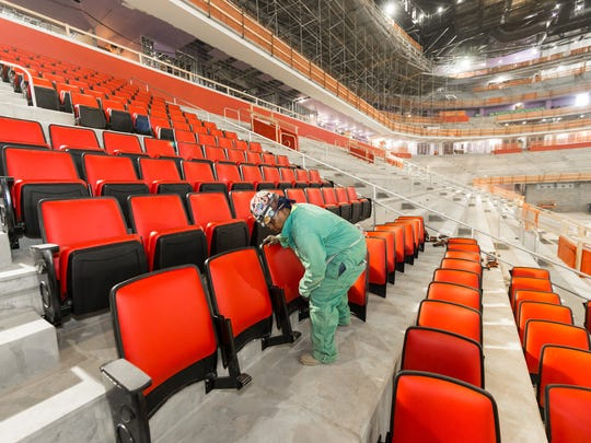Seats are being installed at Little Caesars Arena.