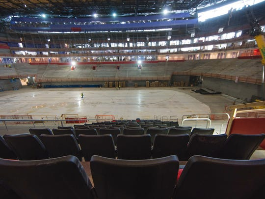 The seats being installed at Little Caesars Arena in