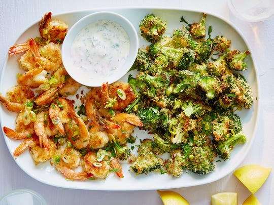 Pepperoncini Shrimp and Broccoli featured in a recent Martha & Marley Spoon meal kit delivery.