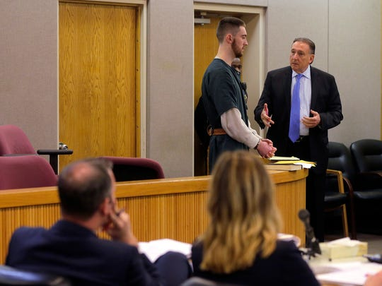 Preston Taylor, 19, answers questions from his defense attorney, John Perrone, about his role in the Sarah Stern murder case as he pleads guilty to 6 charges, which include robbery, conspiracy to commit robbery, disturbing or desecrating human remains, tampering with physical evidence and two counts of hindering apprehension, during a plea hearing before Judge Richard W. English at Monmouth County Courthouse in Freehold, NJ Monday April 24, 2017.