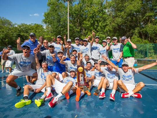 The University of West Florida men's tennis team celebrates a 5-2 victory over Barry University to win the 2017 Division II Men's Tennis Championship. UWF enters 2020 with a No. 3 national ranking and looking for a similar accomplishment.