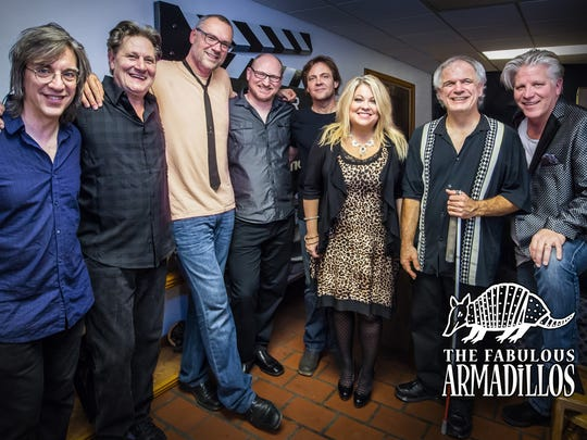 The Fabulous Armadillos are (left to right) Mike Zeleny, Mike Kreitzer, Paul Diethelm, Pat Thorn, Jay O'Donnell, Pamela McNeill, Bill Scherer and Greg Armstrong