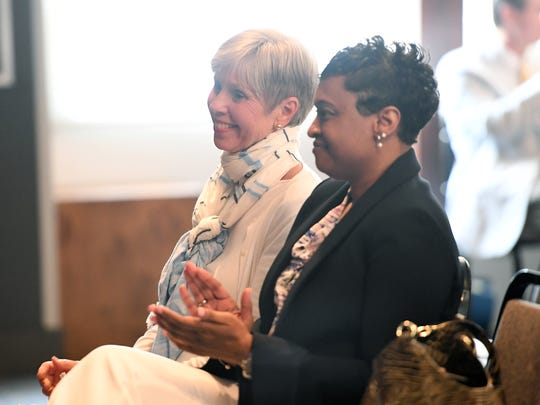 Bobbie Short (left) sitting with Denise Patterson (right)