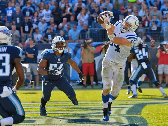 Colts tight end Jack Doyle (84) hauls in the game-winner