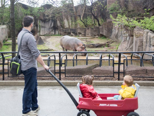 Joel Deutmeyer and his twin two-year-olds, Emma and Alex, stop to see the hippo at the Milwaukee County Zoo.