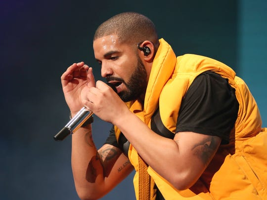 Drake performs on the Coachella stage during day 2
