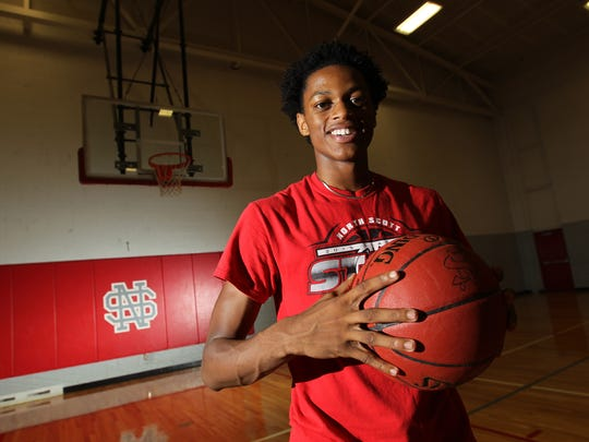 North Scott's Corvon Seales poses for a photo in Eldridge