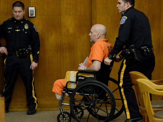Former New York City police officer Arthur Lomando is wheeled out of Bergen County Superior Court after his first appearance. Lomando pled not guilty to murder in the stabbing death of his ex-girlfriend  Suzanne Bardzell, a Midland Park woman, in her own driveway. AMY NEWMAN/STAFF PHOTOGRAPHER