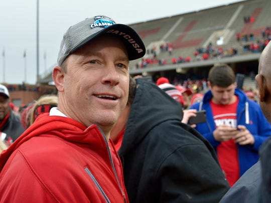 Then head coach of Western Kentucky Hilltoppers Jeff Brohm pictured after the CUSA championship game against the Louisiana Tech Bulldogs at Houchens Industries-L.T. Smith Stadium in Bowling Green, Kentucky. Western Kentucky won 58-44.  Dec 3, 2016 Mandatory