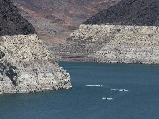 Water levels dropped significantly at Lake Mead during an extended drought on the Colorado River.