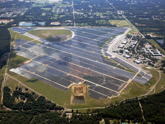 "Gulf Power and Coronal Energy officially brought the Saufley Field solar energy facility online during ""Flip the Switch"" event Tuesday, Aug. 22, 2017."