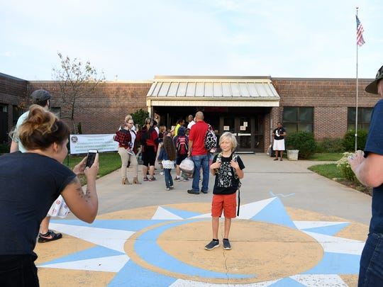 Students arrived for the first day back to school at Vance Elementary School on Monday, Aug. 28, 2017.
