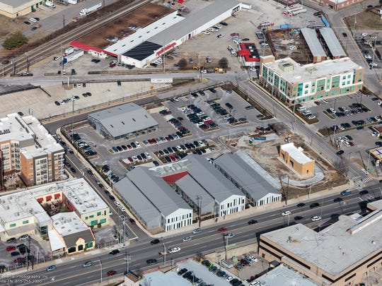 An aerial view of The Sheds on Charlotte, which has