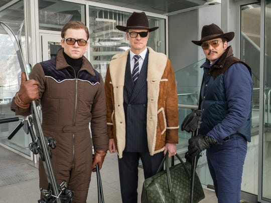 Eggsy (Taron Egerton, left), Harry, aka Galahad (Colin