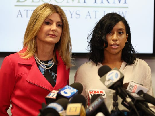 Lisa Bloom (left), lawyer for Montia Sabbag, speaks