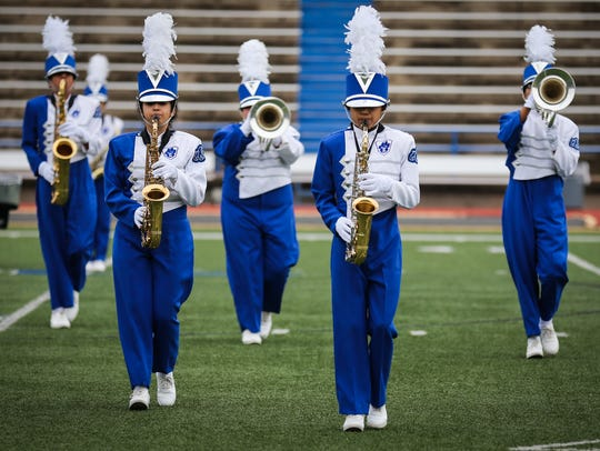 The Eden High School marching band plays during the Concho Classic Marching Festival on Sept. 30 at San Angelo Stadium.