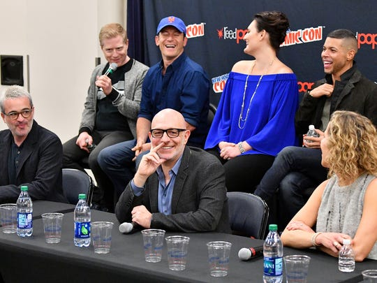 "Alex Kurtzman, Anthony Rapp, Jason Isaacs, Akiva Goldsman, Mary Chieffo, Wilzon Cruz and Heather Kadin speak during the ""Star Trek: Discovery"" press conference during New York Comic Con 2017."
